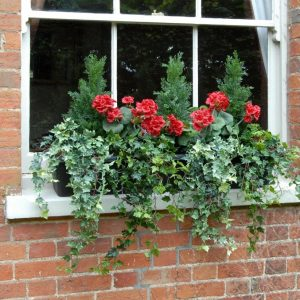 Red Geranium Faux Balcony Trough | Artificial Balcony Trough